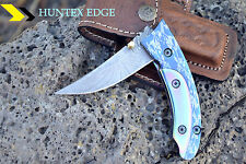 "HUNTEX Handmade Damascus 4.3"" Long Anodised Colored Handle Hunting Pocket Knife"