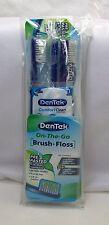 DenTek On The Go Brush + Floss 3- Pre-Pasted Toothbrushes & 3- Floss Picks & Bag