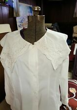 2 identical vtg. sz 12 edwardian style white cotton embroidered lace blouse top