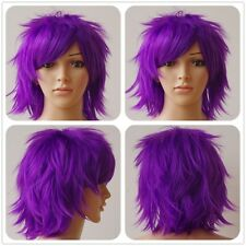Multicolor Man Women Short Straight Curly Full Wig Anime Party Cosplay Fancy Cos