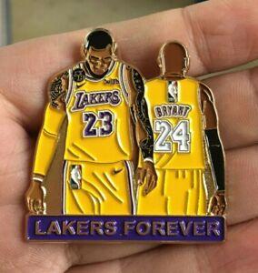 "Lakers LeBron James Kobe Bryant 2020 NBA Championship Lapel Hat Jersey Pin 1.75"""