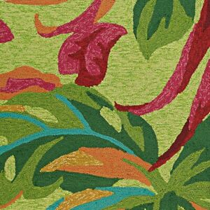 """Couristan Covington Painted Fern Fern & Red Indoor/Outdoor Rug, 2'6""""x8'6"""" Rn"""