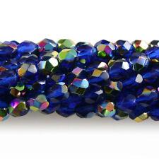 Dark Sapphire Blue Vitral - 50 6mm Round Faceted Czech Glass Fire Polish Beads