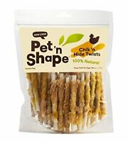 Pet 'n Shape Chicken Hide Twists - All Natural Dog Treats, Chicken, Small, 1 Lb