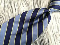 Brooks Brothers Makers Pure Silk Woven in England Made in USA BLUE STRIPED TIE