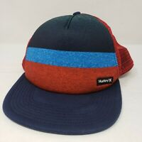 Hurley Vintage Style Snapback Hat Baseball Cap Red Blue Stripe Mesh Excllnt Cond