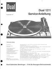Dual service manual pour phono 1211