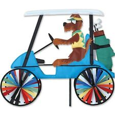 """Dog Driving a Golf Cart 23"""" Staked Wind Spinner Pole & Mount..25... PR 25677"""