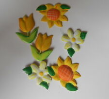PACK PRETTY MIXED SPRING FLOWERS TOPPER EMBELLISHMENTS  FOR CARDS AND CRAFTS