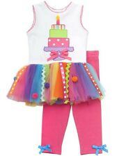 Rare Editions Girls 4th BIRTHDAY Party Multi Color Tutu Dress + Leggings 4T New