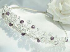 Stunning Handmade - Clear AB & Purple Crystal Silver Tiara headband