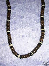 "LARGE BROWN BLACK WHITE COCO BEADS SURF 18"" NECKLACE"