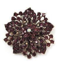 Vintage Antique Gold & Deep Purple Rhinestones Flower Shaped Brooch Pin BR149