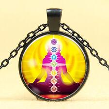 Wholesale Cabochon Glass Black  Chain Pendant Necklace ,Seven chakras /22