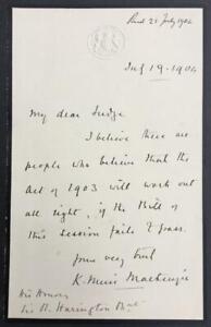 Kenneth Muir Mackenzie, Baron Muir Mckenzie, SIGNED letter, 1904
