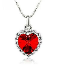 Women Silver Necklace Chain Crystal Rhinestone Heart Red Pendant Fashion Jewelry