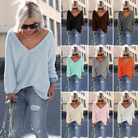 Womens Long Sleeve V Neck Loose Knitted Sweater Ladies Casual Jumper Tops 6-16