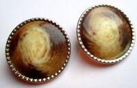 boucles d'oreilles rondes clips couleur argent nébuleuse marron bijou vintage 2