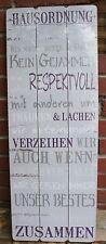 """Tolles Schild aus Holz: """" HAUSORDNUNG: Halte deine Versprechen"""" im Shabby - Look"""