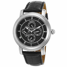 Lucien Piccard 40009-01 Black Genuine Leather and Dial Men's Quartz Watch