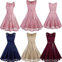 Women's Sleeveless Lace Dress Bridesmaid Wedding Party Cocktail Formal Dresses