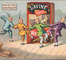 Chinese Laundry 1800s Lavine Soap Washing Dance Victorian Advertising Trade Card