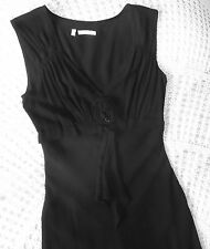 Quality lightweight party cocktail dress by AUSTIN REED Size 8 Black matte silk