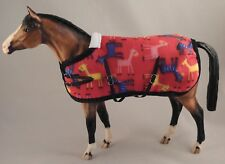 Handmade turnout rug blanket fit 1:9 Traditional Breyer toy horse red pony print