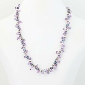 """New Bead Amethyst & Gray Pearl Strand Necklace Sterling Silver 16"""""""