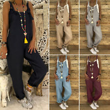 UK New Womens Dungarees Jumpsuits Ladies Playsuit Overalls Baggy Pants Plus Size
