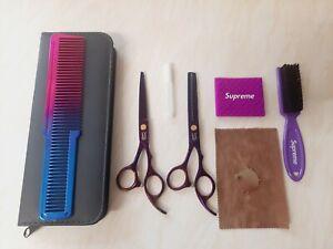 Barber Hair purple Scissor and brush set. cutting thinning comb fade brush