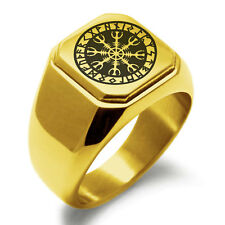 Mens Square Biker Style Signet Ring Stainless Steel Helm of Awe Viking Square