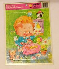 """1979 Golden Frame Tray Little Pig Saves Her Money Puzzle 11"""" x 8"""""""