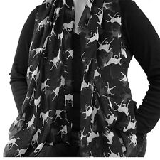 Horse Soft Scarf Shawl Polyester For Women Ladies White Purple Black Brown Pink