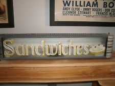 """Vintage Eclectic Art Deco Lighted Mid Century Modern """"Sandwich """" Sign"""