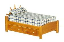 Dolls House Captains Single Bed Miniature Walnut Nautical Bedroom Furniture