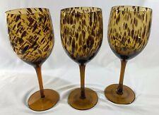 Set of 3 Stemmed Tortoise Design Wine Glasses, NEW