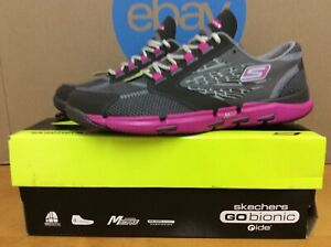 New 2012 Skechers Go Bionic Ride Womens Running Shoes Size 7 Char Hot Pink E16