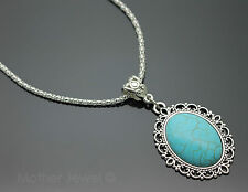 STUNNING GIFT AQUA BLUE OVAL TURQUOISE SILVER PLATED GIRLS LADIES NECKLACE