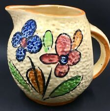 Vintage Japan Majolica Pitcher Yellow Dimpled Surface with Flowers