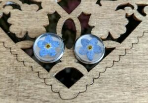 Handmade Resin Real Forget Me Not Flower Earring Botanical Studs Stainless Steel