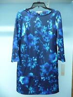 NWT Womens Daisy Fuentes Blue Floral Stretch Dress 3/4 Sleeves Size S MSRP $68