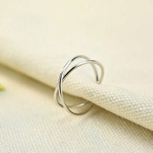 2021 Fashion Simple Silver Adjustable Open Ring Wedding Women Jewelry Gift New