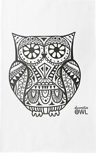 The Decorative Owl Large Cotton Tea Towel by Half a Donkey