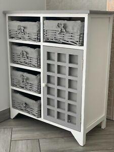 Grey Rustic Storage Unit Cupboard Chest of Drawers Wicker Baskets Vintage Rattan