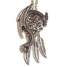 Dragon & Dreamcatcher Necklace silver copper pentant wyvern feathers fantasy 1V