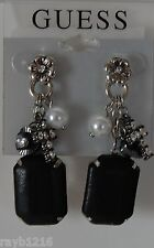 NWT Guess Silver & Black Metals-Black Faux Leather Beads-Rhinestones Earrings