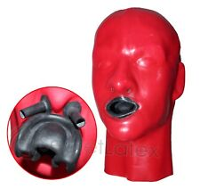 LATEX RED RUBBER BONDAGE HOOD GIMP MOUTH SHEATH FETISH ANATOMICAL MALE MASK