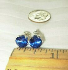 8MM LAB-CREATED BLUE SAPPHIRES ROUND STUD EARRINGS STERLING SILVER  USA !