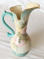 Hand Painted Pitcher Vase with Handle, marked by artist, Vintage Roses Decor